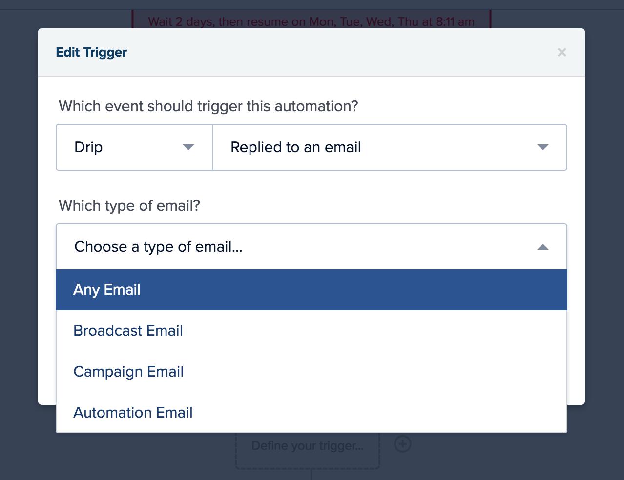 Choose Email Response Goal